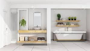 modernes weißes badezimmer mit waschbecken auf holzregal und badewanne 3d rendering