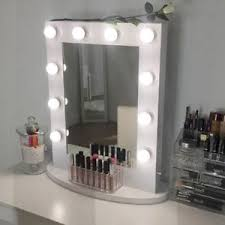 White Hollywood Makeup Vanity Mirror with Light Aluminum Mirror