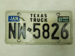 1987 Texas Truck License Plate NW-5826