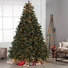 Silvertip Christmas Tree by Classic Full Pre Lit Christmas Tree With Berries And Pine Cones