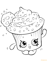 Creamy Cookie Cupcake Shopkin Season 5 Coloring Page