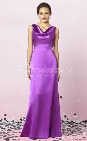 sheath column cowl charmeuse floor length lilac bridesmaid dresses