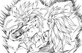 Dragon Ball Z Goten Super Saiyan 3 Coloring Page Arevir And Goku