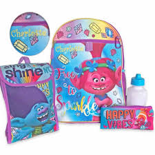 Personalized 16 Trolls Backpack With Bonus Lunch Bag Water Bottle Pencil Case