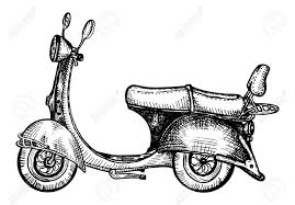 Retro Scooter Drawing In Engraving Style Stock Vector