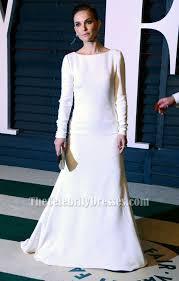 natalie portman white long sleeve evening dress vanity fair oscar