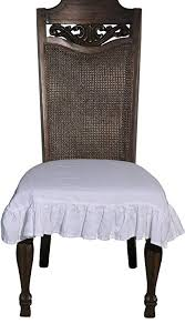 100 Flax Linen Dining Room Chair Seat Cover Ruffle In White