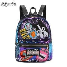 Rdywbu Glitter Sequins Dog Patched Backpack Women Fashion PU Leather Travel Bag Large Capacity School