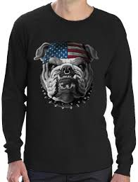 usa mascot flag bulldog army marine corps 4th july long sleeve t