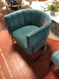 PAIR Coleman Furniture Magnolia Sea Blue Chair w Silver Frame