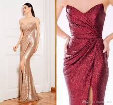2017 cheap prom dresses rose gold sequined evening dresses
