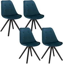 woltu bh196bl 4 4 x esszimmerstühle 4er set esszimmerstuhl sitzfläche aus samt design stuhl küchenstuhl holzgestell blau