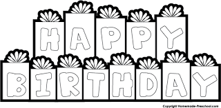 Present black and white birthday black and white happy birthday clipart 6
