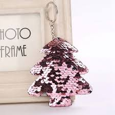 1 Pcs Cute Sequin Cactus Sequins Christmas Tree Key Chain Keychain Women Handbag Car Keyring Gift