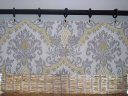 Waverly Curtains Bedazzled Yellow Grey Damask Kitchen Curtain Valance Window Lined