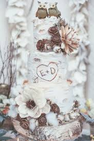 Birch Tree Wedding Cake For A Rustic Fall Or Winter With An Owl Topper