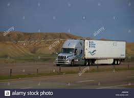 A Silver Or Grey Freightliner Semi-Truck Pulls A White