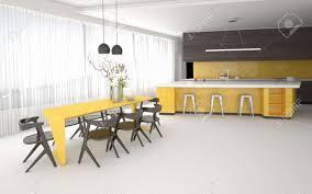 luxus gelb und grau küche und esszimmer interieur mit einem großen offenen raum mit einbauschränke und geräte eine bar und stilvollen tisch