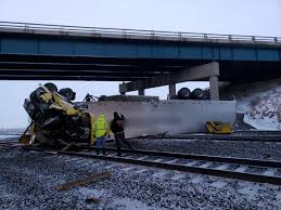 100 Truck Tracks Semi Falls Off Interstate 80 Overpass Lands On Railroad Tracks Below