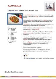 fiche cuisine on apprend le français recette de cuisine ratatouille