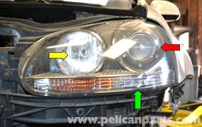 volkswagen golf gti mk v headlight bulb and assembly replacement
