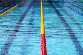 Surface Of An Outdoor Olympic Swimming Pool Stock Photo
