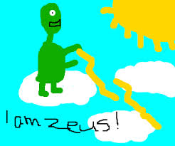 Alien Zeus Throwing Lightning Bolts