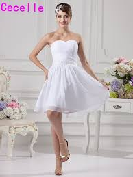 Simple White Short Chiffon Bridesmaid Dresses Informal Knee Lengh Sweetheart Country Rustic Robes Wed Party