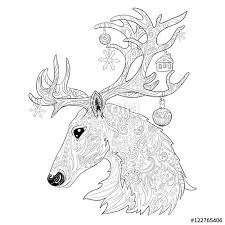 Christmas Reindeer Hand Drawn Doodle Illustration Decorative Animal Deer Head Page For Adult Coloring
