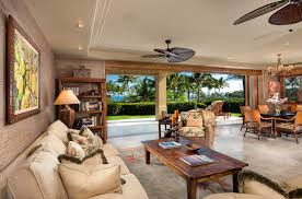 Rustic Ceiling Fan Living Room Tropical With Floral Rug Palm Tree