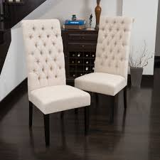 Tall Dark Beige Tufted Fabric Dining Chair (Set Of 2) By Christopher ... Fabric Ding Chairs High Wingback Chair Black Skirted Side Tufted Updated Vintage Tall Tufted Ding Chairs Linen Print Key And Lock Fniture Upholstered With Perfect Fishing Touch Set Of Five Tall Back Grandview 35 Of 2 Vintage Tobacco Faux Leather Square Anthony Tall Arm Ding Chair Room Best For Sale Chair Set Jaffastreetco Arm Admirably