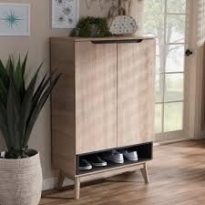 Baxton Studio Shoe Cabinet by Baxton Studio Fella Mid Century Modern Two Tone Oak And Grey Wood