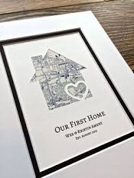 Our First Home Personalized Map Matted Gift New House Housewarming Anniversary Or Wedding Closing