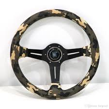Racing Silver/Blue/Black ND 14inch Camo PVC Leather Steering Wheel ...