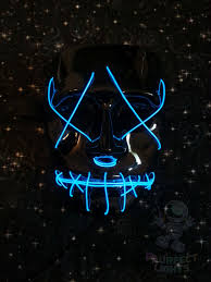Purge Anarchy Mask For Halloween by The Purge Anarchy Movie Neon Blue Zipper Face Glow Mask