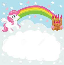 Card With A Cute Unicorn Rainbow And Fairy Tale Princess Castle Stock Vector