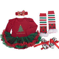 amazon com babypreg baby girls my first christmas santa costume