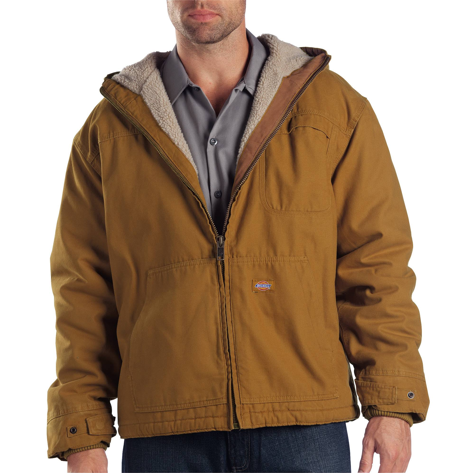 Dickies TJ350 Sanded Duck Sherpa Lined Hooded Jacket Brown Duck XL