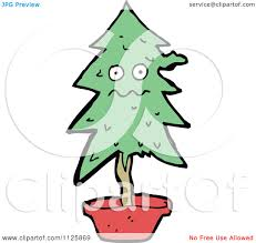 Potted Christmas Tree by Cartoon Of A Potted Christmas Tree Character 2 Royalty Free