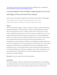 100 Food Truck Industry PDF Local And Organic Food On Wheels Exploring The Use Of Local