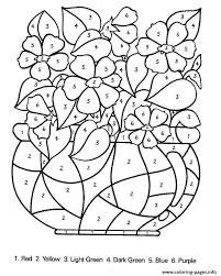 Color By Number Flowers Adults Coloring Pages