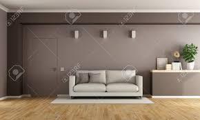 brown moderne wohnzimmer mit weißen und geschlossene tür 3d rendering