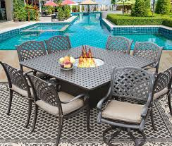 nassau 64x64 square outdoor patio 9pc dining set for 8 person with
