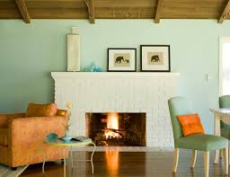 Turquoise Wall Paint Living Room Rustic With Elephant Large Vase Light Image By Mark English Architects AIA