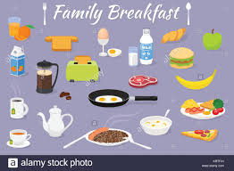 Vector Breakfast Time Illustration With Fresh Food And Drinks Icons Set