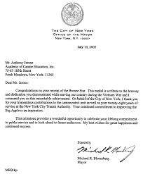 Anthony Jerone s Appreciation letter Mayor Michael Bloomberg