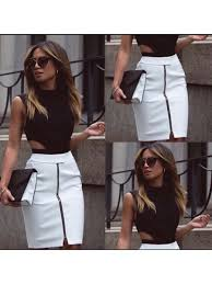 crop top black white skirt set toparabica com