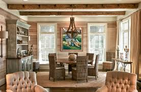 Coastal Cottage Dining Room Beach Style With Exposed Beams Shiplap Board
