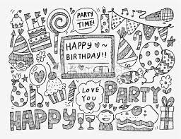 Doodle Birthday party background Vector Art