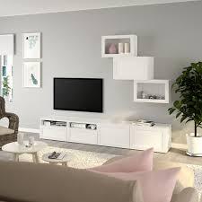 bestå tv storage combination glass doors white hanviken